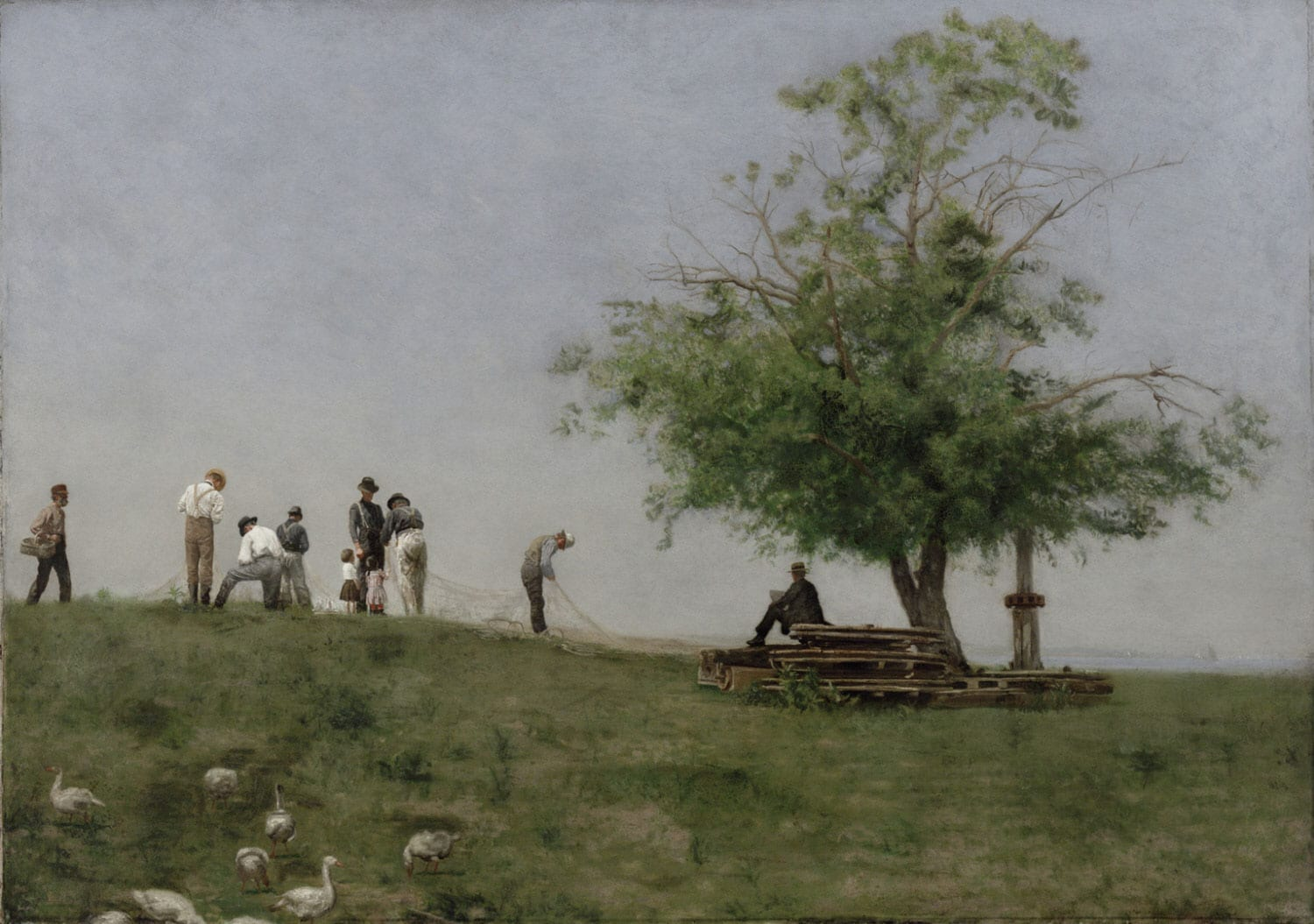 "Thomas Eakins' ""Mending the Net."" The digital image is from the Philadelphia Museum of Art,"