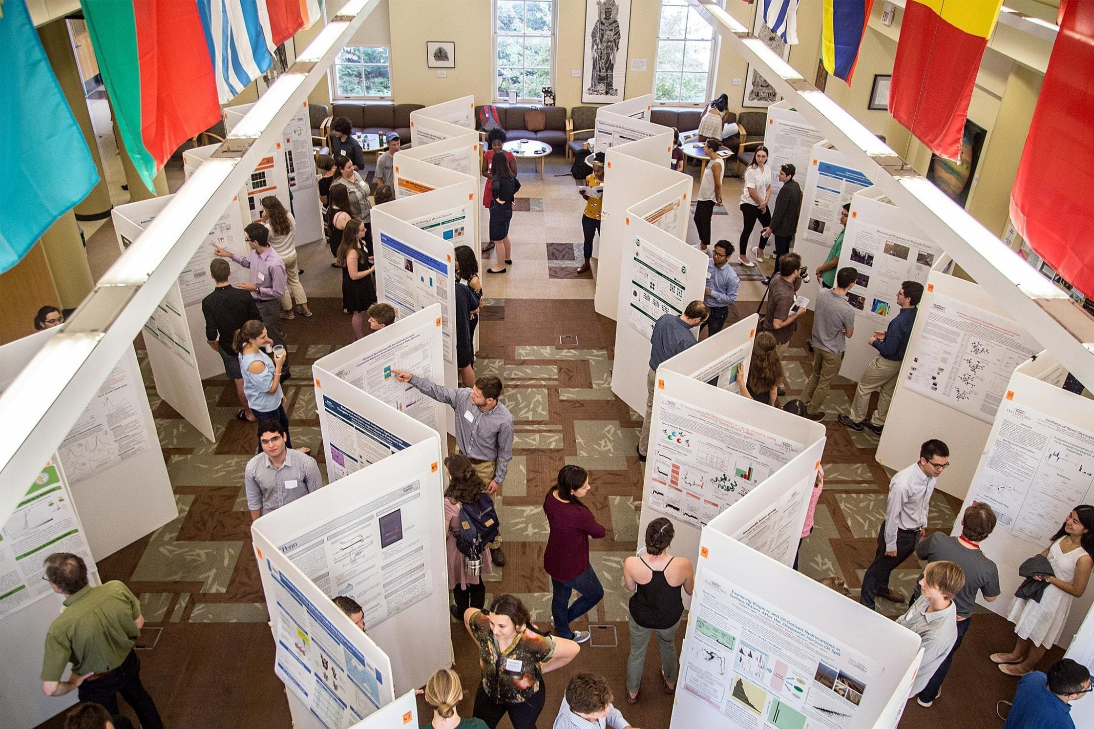 Students at a poster presentation