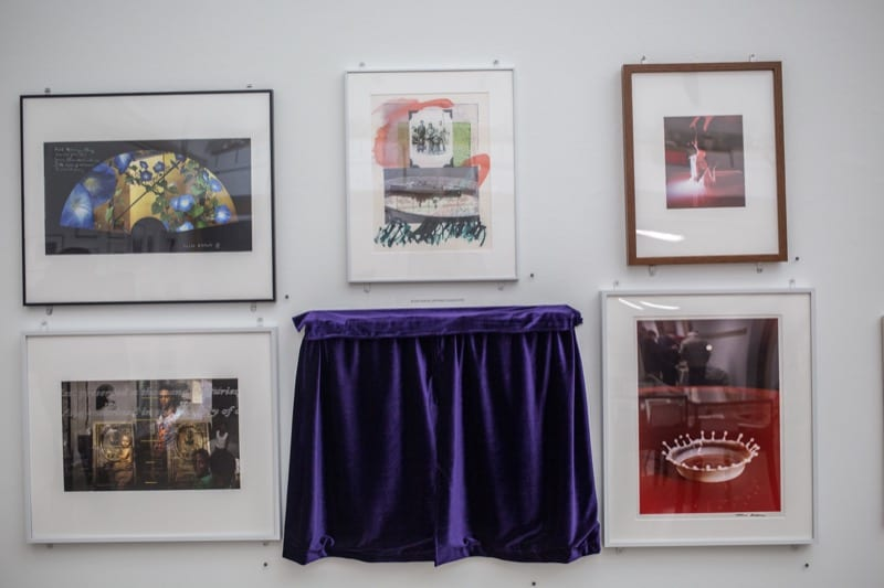 Photos, including one under a curtain, in the color photography show.