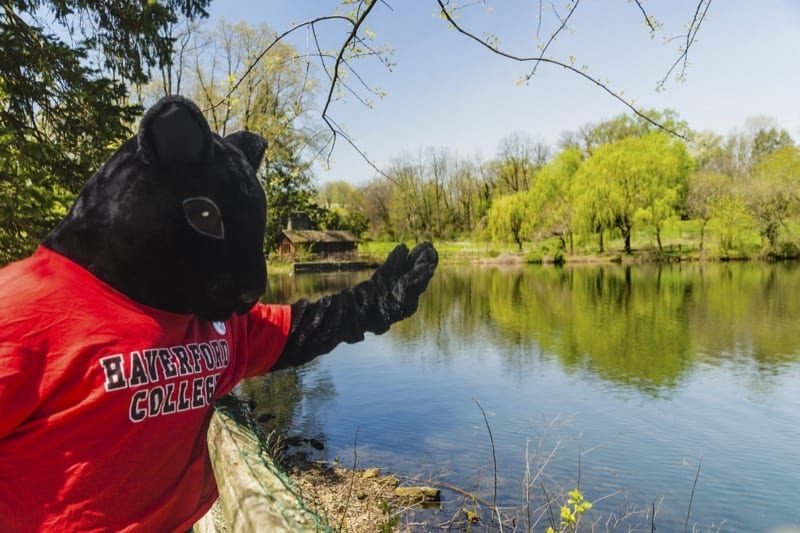 The Haverford black squirrel mascot at the Duck Pond