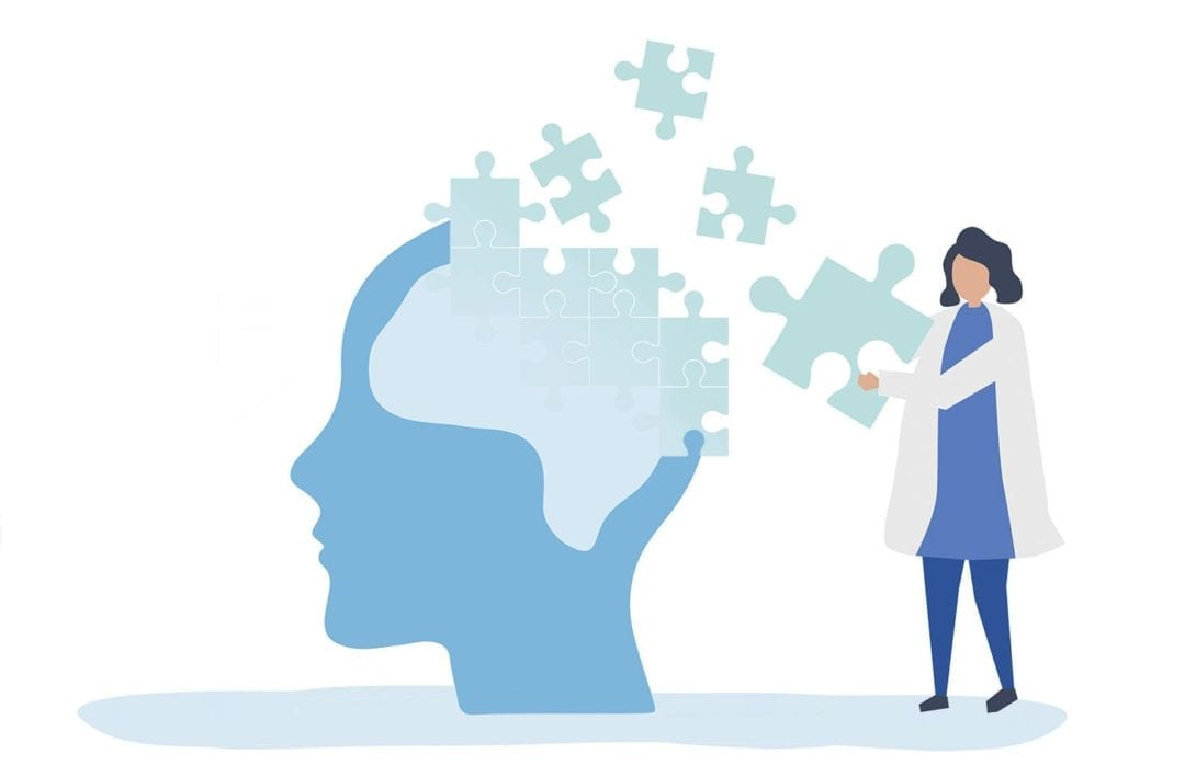 Illustration of a doctor putting together puzzle pieces in a brain