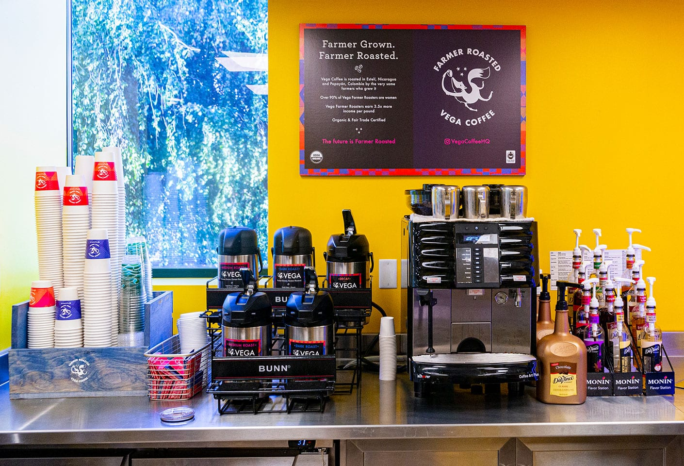 Coffee decanters and equipment in the Library Cafe, serving Vega Coffee