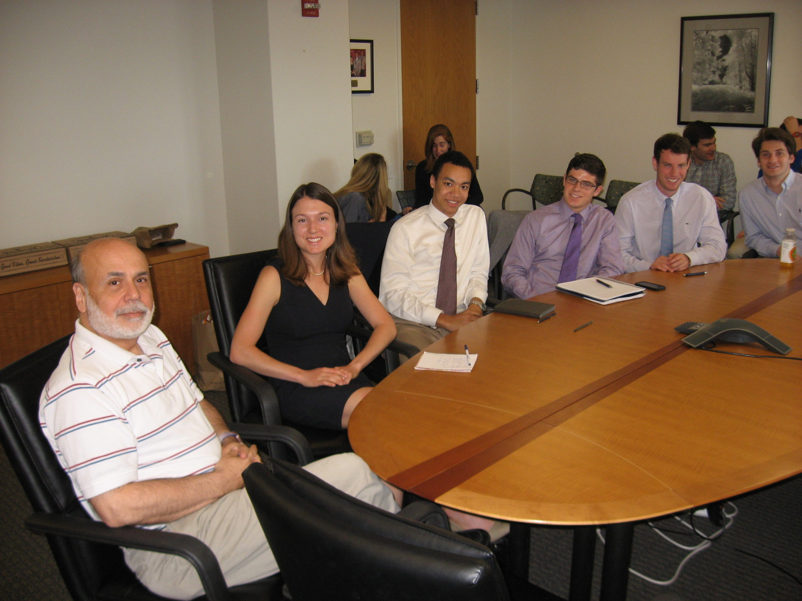 Students in Carola Binder's class on the Federal Reserve meet former Federal Reserve Chair Ben Bernanke at the Brookings Institute