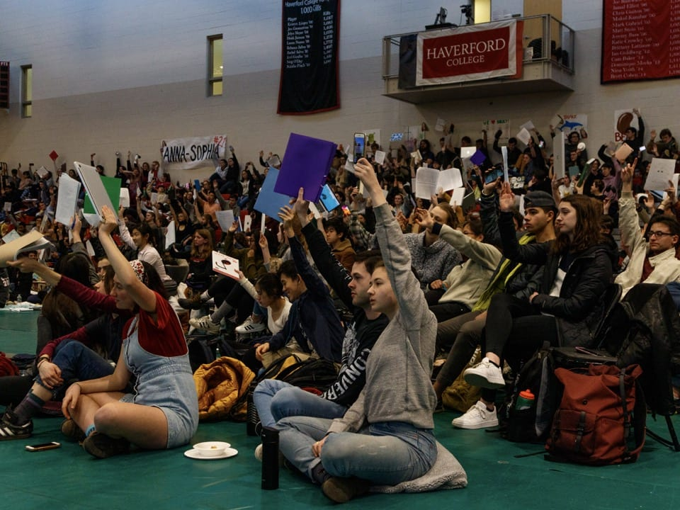 Students vote (by holding up colorful packets) on opening the Honor Code for ratification at Plenary.
