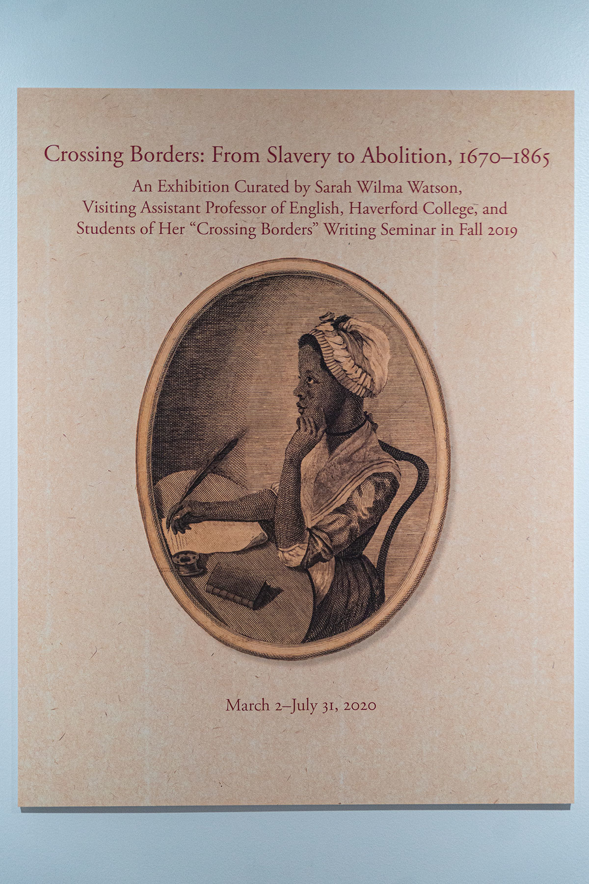 "The gallery poster for ""Crossing Borders"" with an illustration from the frontispiece of Phillis Wheatley's ""Poems on Various Subjects, Religious and Moral"""