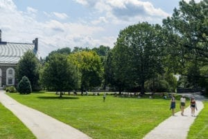 Groups of students sitting in socially distant circles on Founders Green eating lunch
