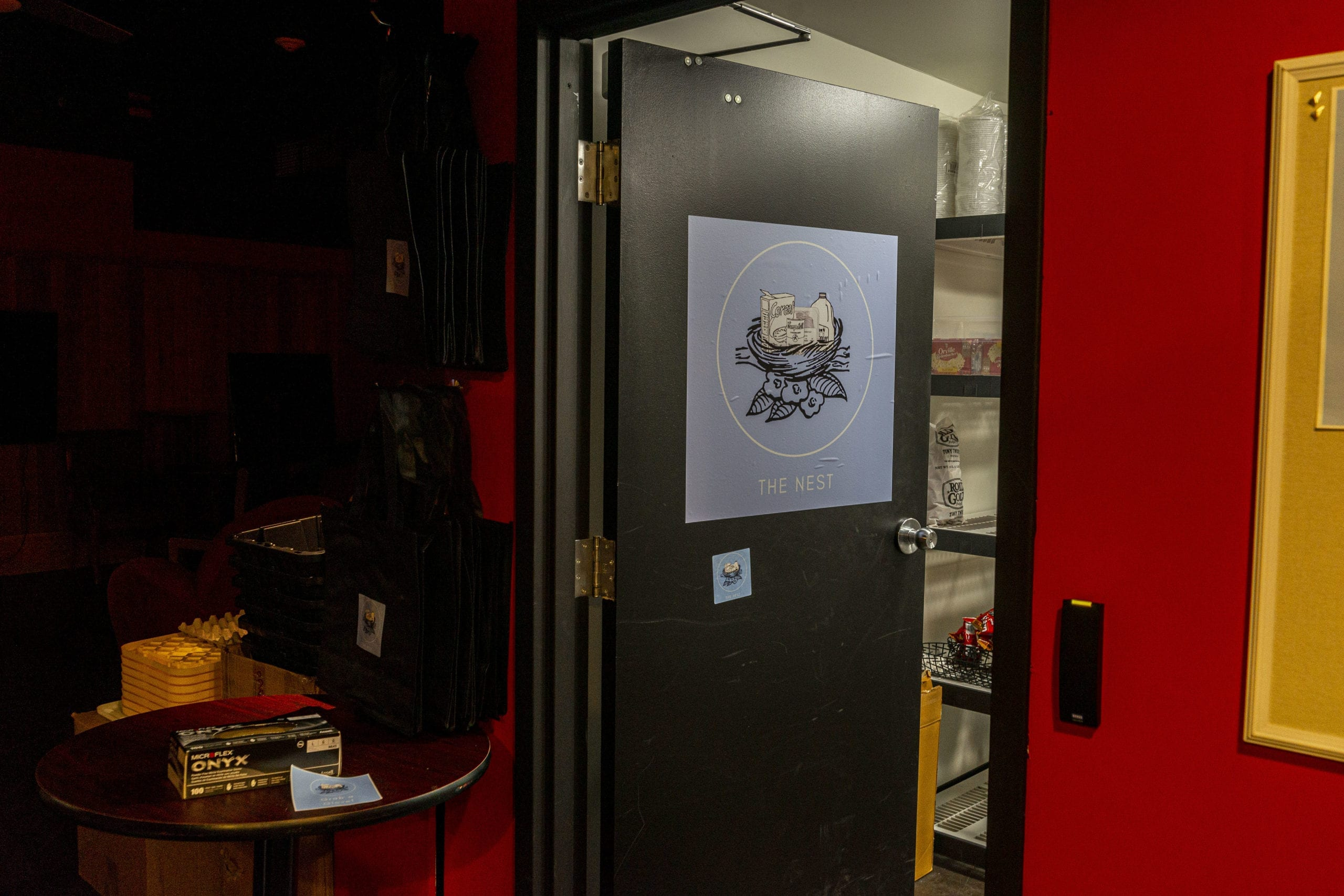 Black door open with the blue nest logo on it