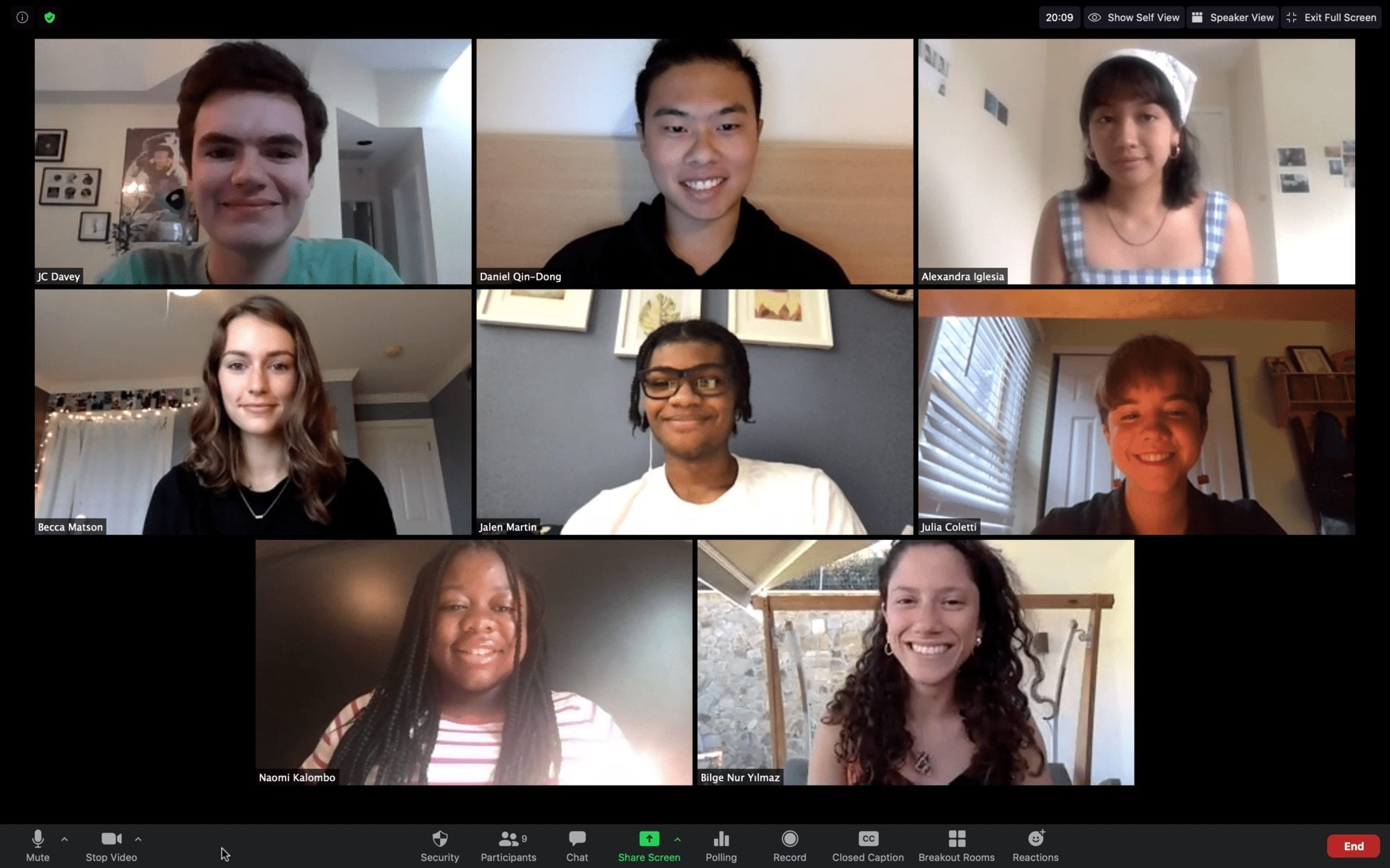 A Zoom grid of the eight Haverford seminar participants' faces.