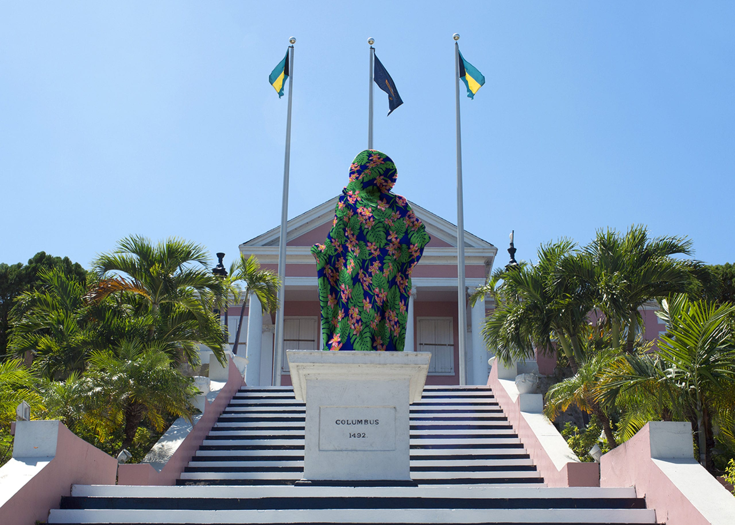 A photograph of a statue of Columbus in front of the Government House in Nassau
