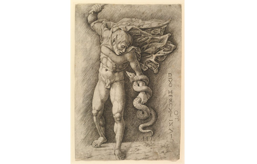A 16th-centure etching and engraving of Hercules and the Hydra